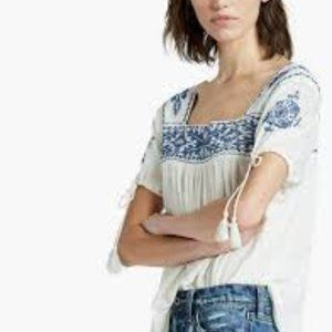 Lucky Brand Embroidered Linen & Cotton Boho Tee L